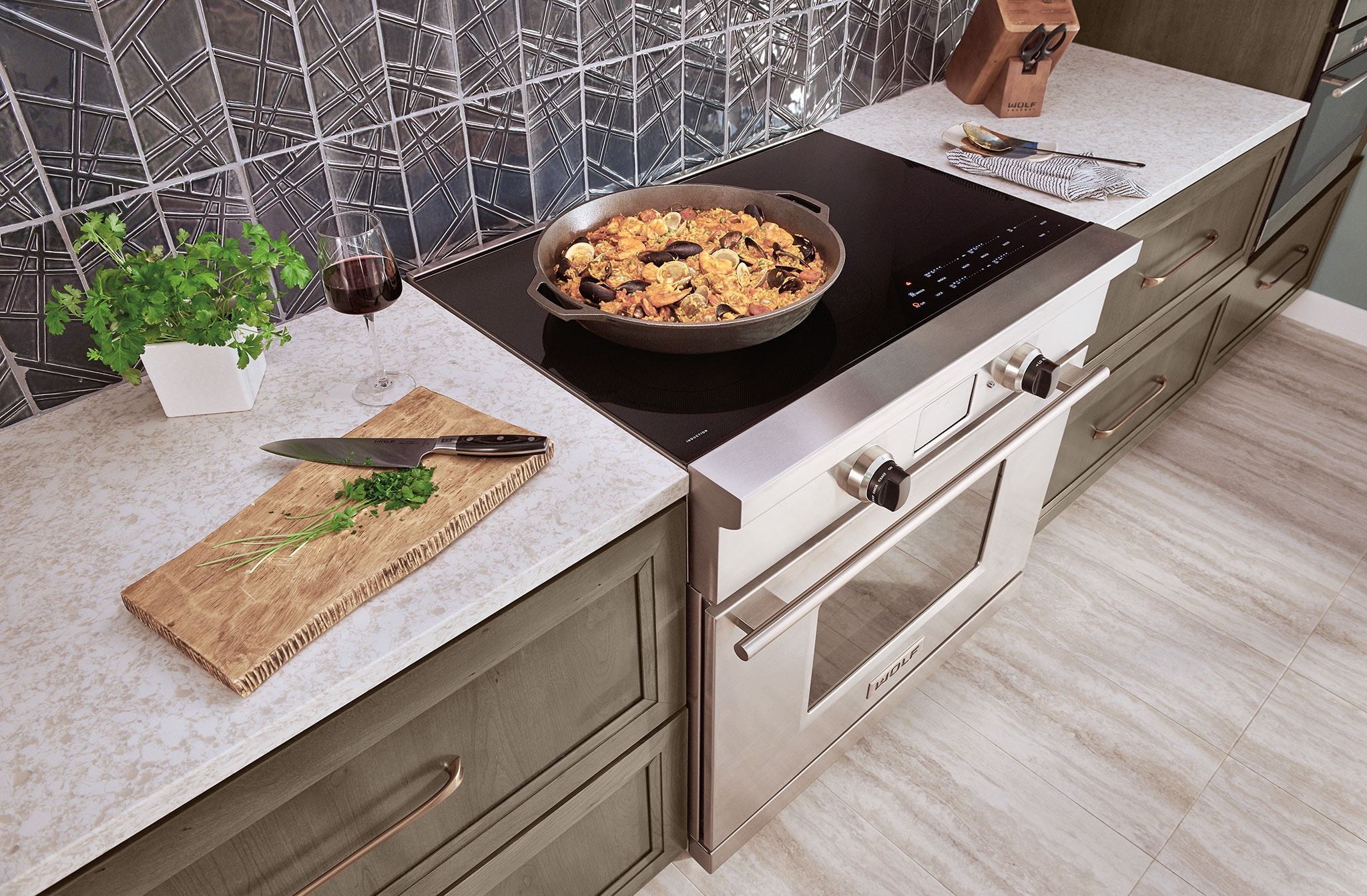 Wolf Pro Induction Range In Kitchen